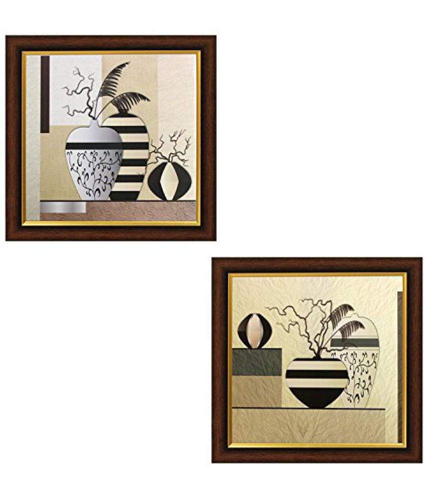 SAF Acrylic Textured Effect Framed Painting (Set Of 2, Dimension(LXBXH): 14 X 2 X 14 Cms)