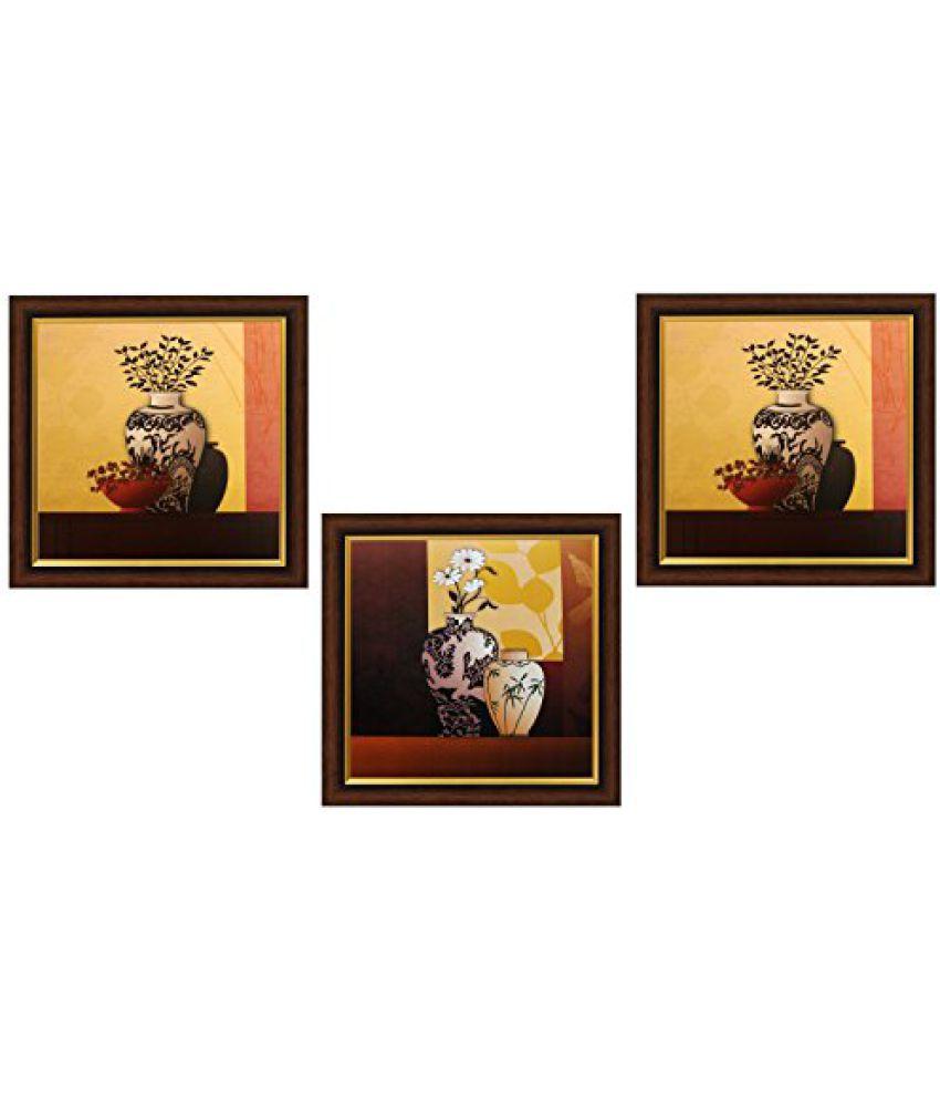SAF Framed Painting (Acrylic, 35 cm x 3 cm x 35 cm, Set of 3, Textured Effect, SANF3975)