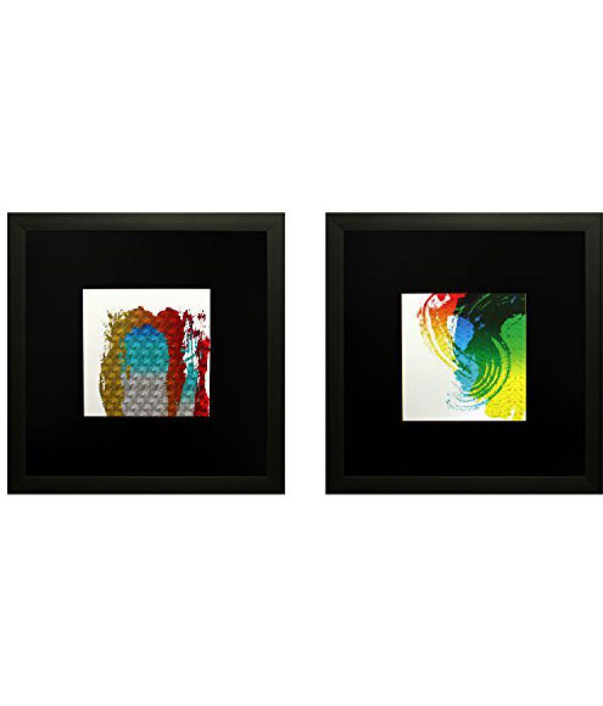 SAF Set Of 2 Textured Print With Uv Framed Reprint Painting (SANFO811, 25 cm x 3 cm x 25 cm)