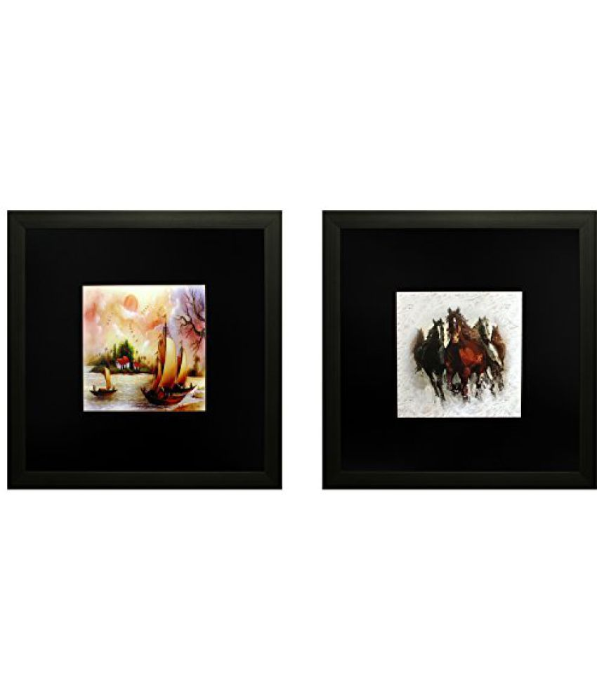 SAF Set Of 2 Textured Print With Uv Framed Reprint Painting (SANFO801, 25 cm x 3 cm x 25 cm)