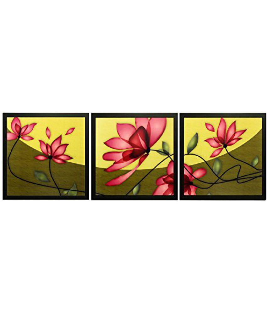SAF Set Of 3 Textured Print With Uv Framed Reprint Painting (SANFO841, 20 cm x 3 cm x 20 cm)