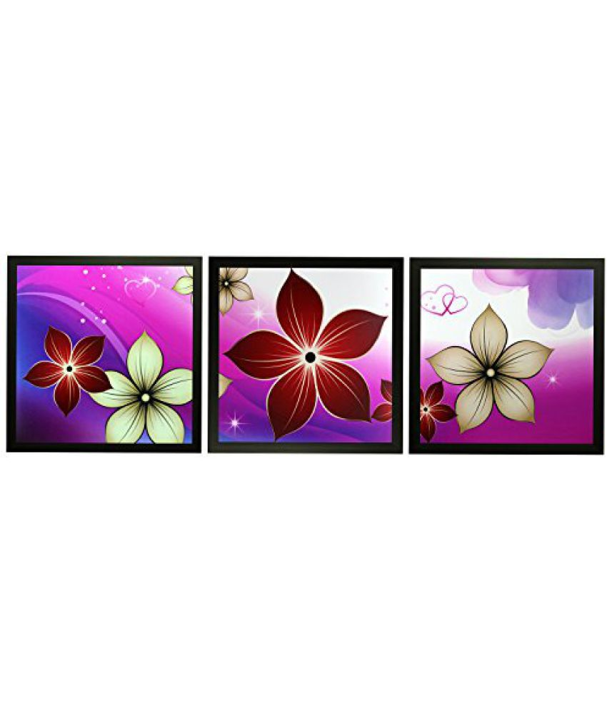 SAF Set Of 3 Textured Print With Uv Framed Reprint Painting (SANFO836, 20 cm x 3 cm x 20 cm)