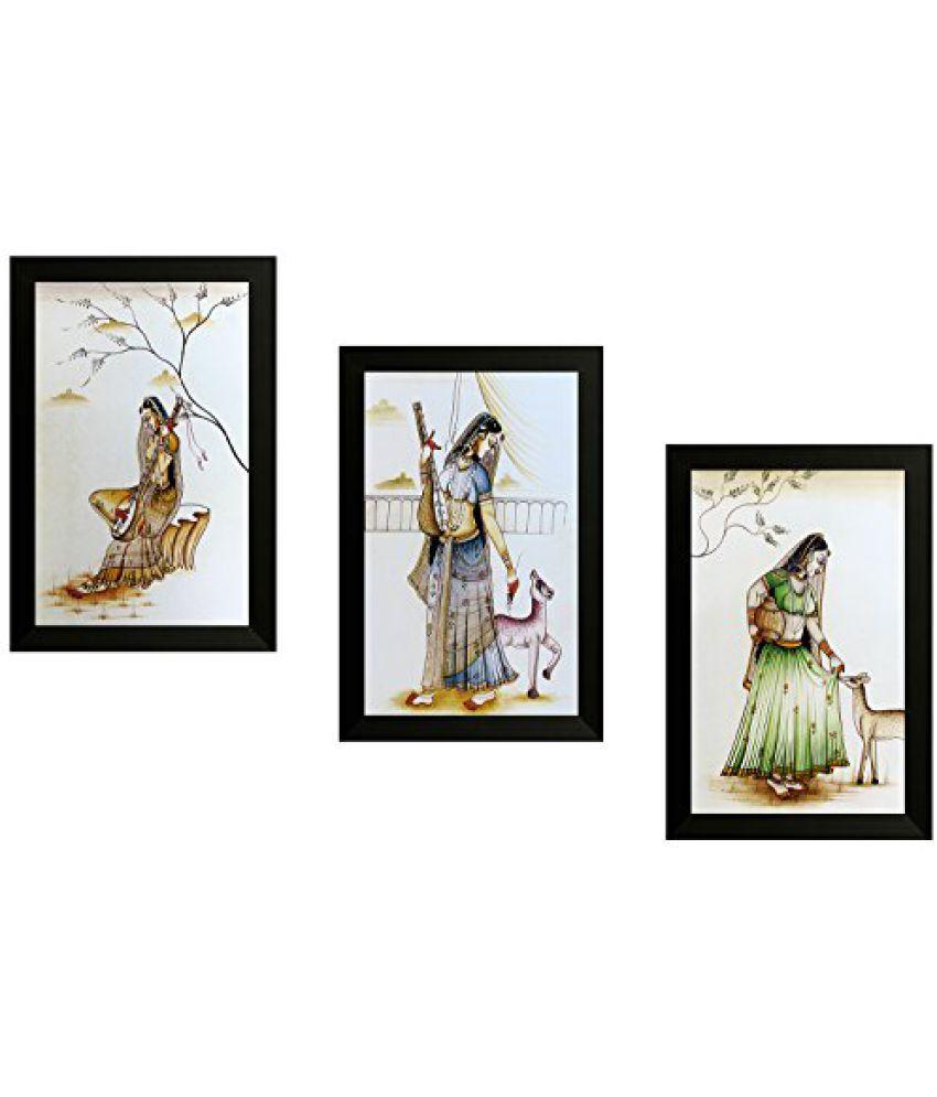 SAF Set Of 3 Traditional Art Painting (SANFO834, 20 cm x 3 cm x 30 cm)
