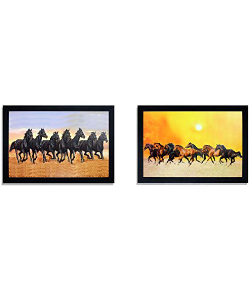 SAF Special Effect Seven Horses UV Print Painting (SANFO281, 20 cm x 3 cm x 30 cm)