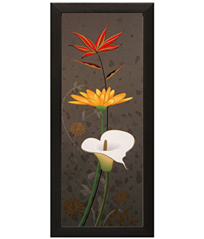 SAF Special Effect Textured Floral with UV Print Painting (SANFO167, 15 cm x 3 cm x 38 cm)