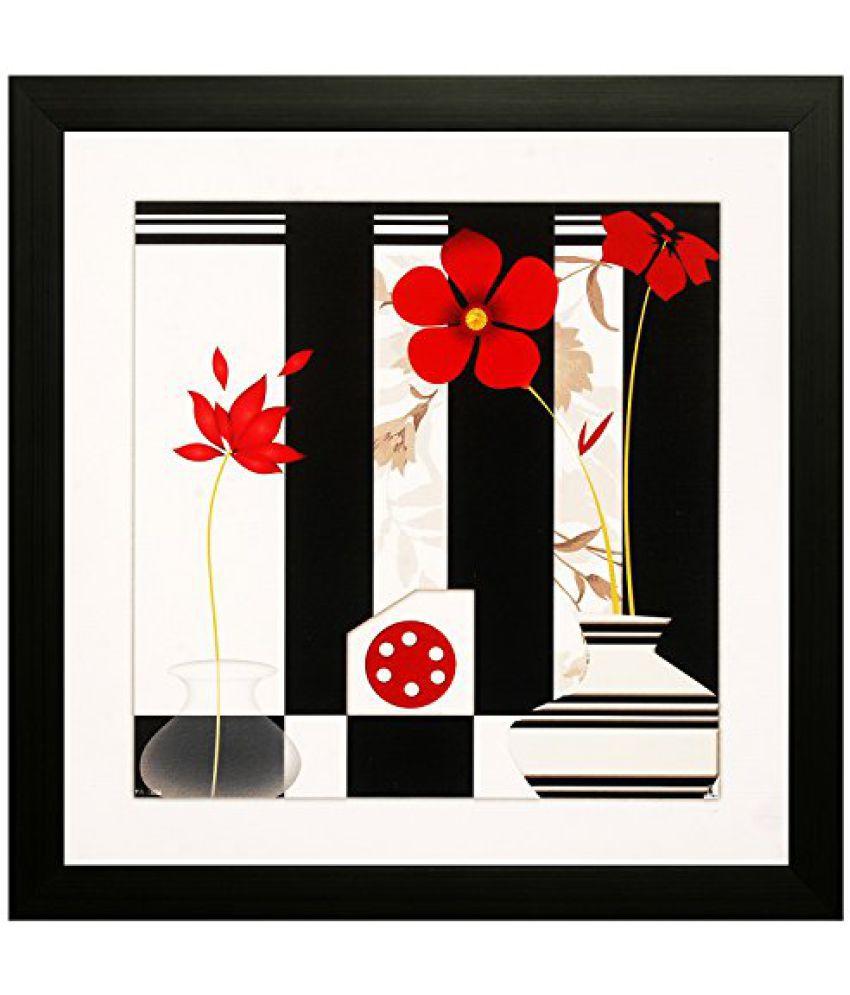 SAF Special Effect Textured Floral Painting (SANFO114, 30 cm x 3 cm x 30 cm)