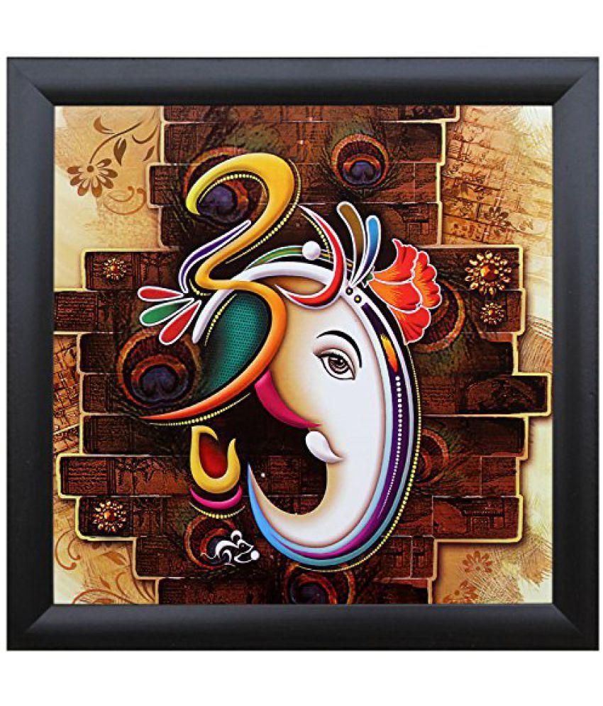 SAF Special Effect Textured Ganesha Painting (SANFO230, 25 cm x 3 cm x 25 cm)