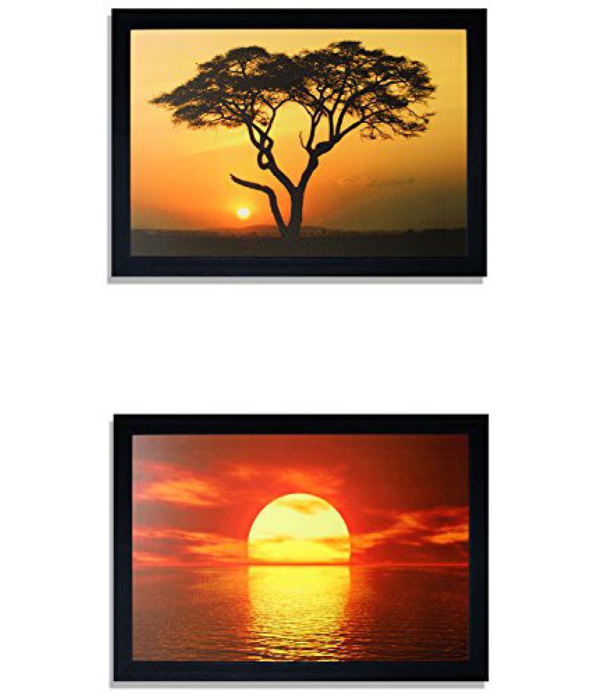 SAF Special Effect Textured SunRise UV Print Painting (SANFO280, 20 cm x 3 cm x 30 cm)