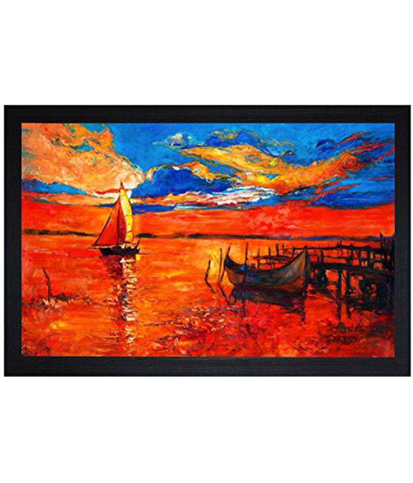 SAF Textured Print with UV Framed Reprint Painting (SANFO742, 30 cm x 3 cm x 45 cm)