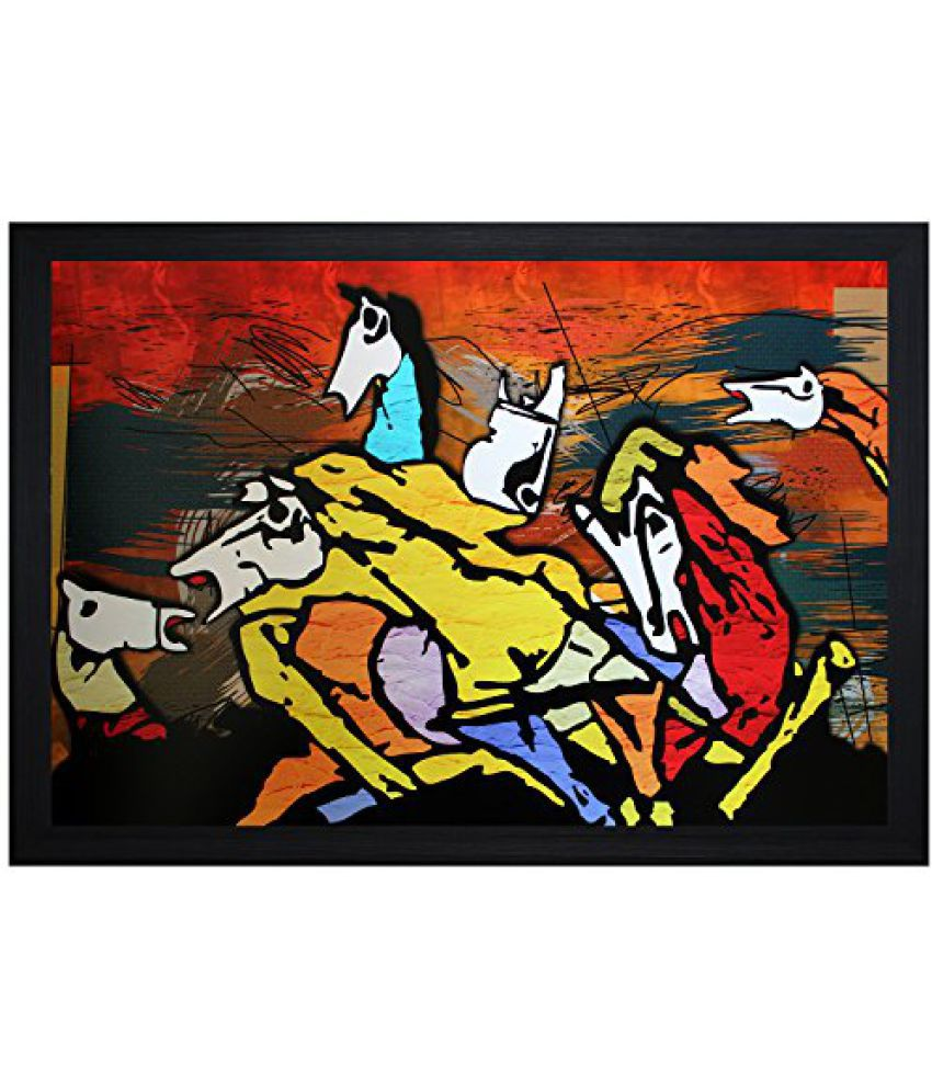 SAF Textured Print with UV Framed Reprint Painting (SANFO621, 20 cm x 3 cm x 30 cm)