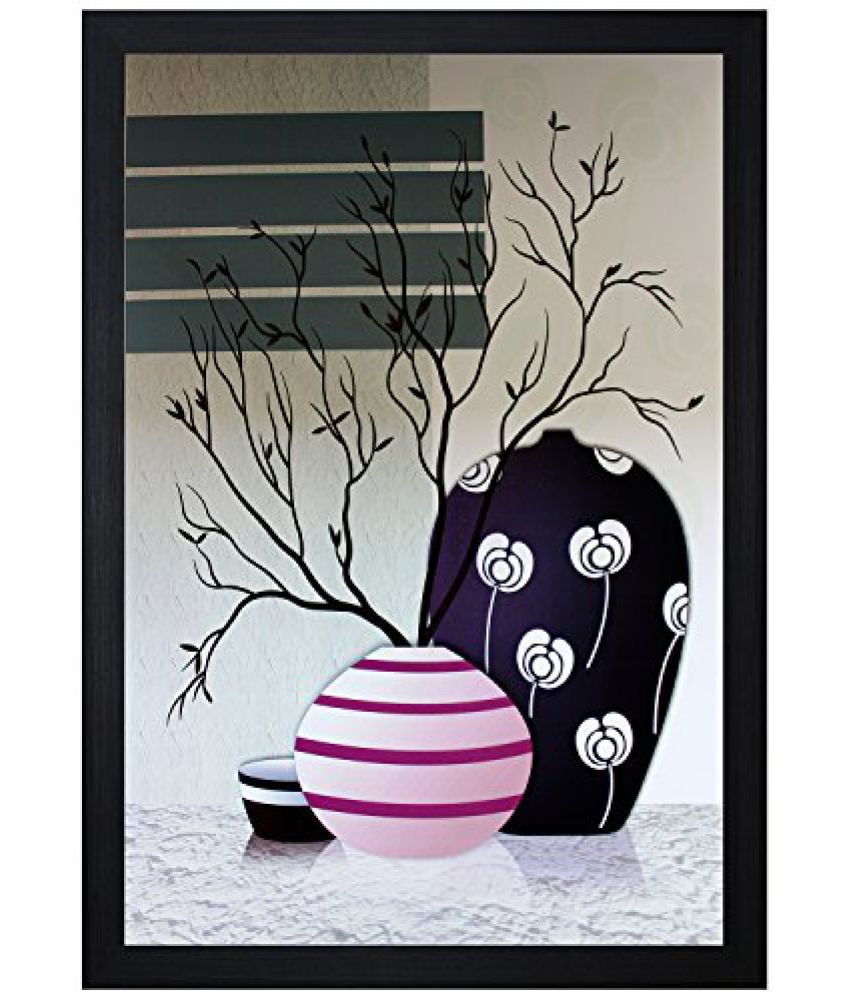 SAF Textured Print with UV Framed Reprint Painting (SANFO490, 30 cm x 3 cm x 45 cm)