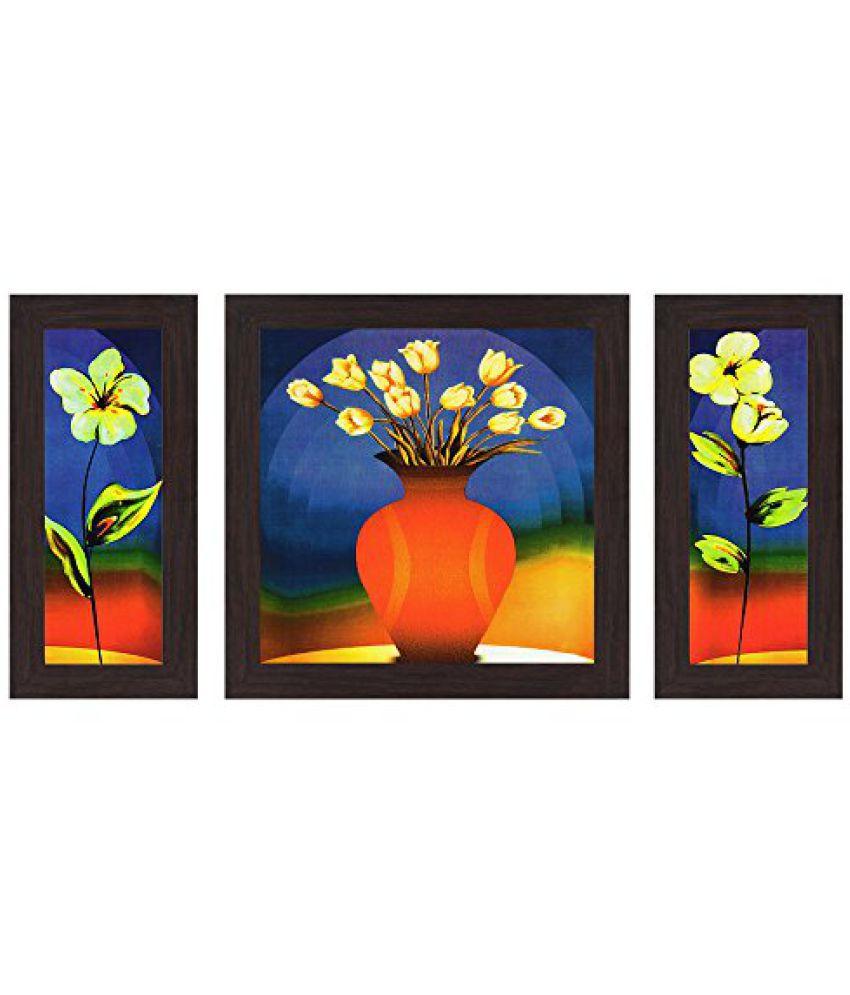 Wens Beautiful Flower Pot MDF Wall Art (14.5 cm x 29 cm x 1 cm, Set of 3)
