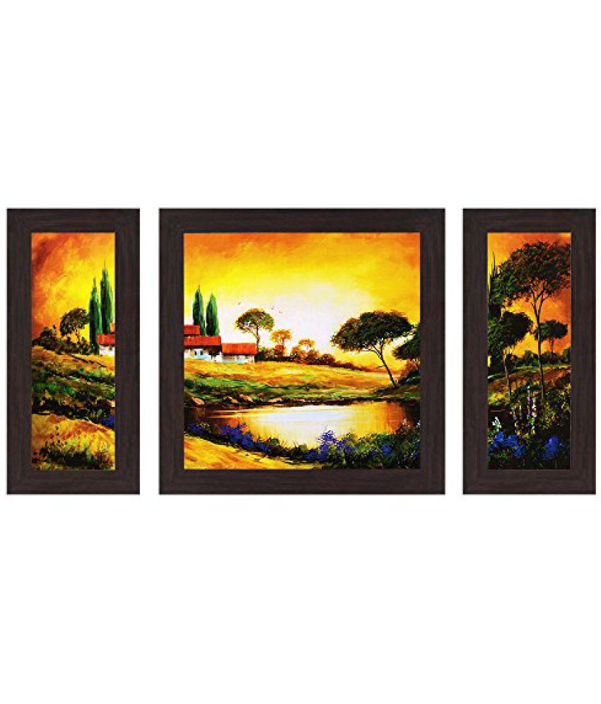 Wens Beautiful Sunset of Village with Lake MDF Wall Art (14.5 cm x 29 cm x 1 cm, Set of 3)