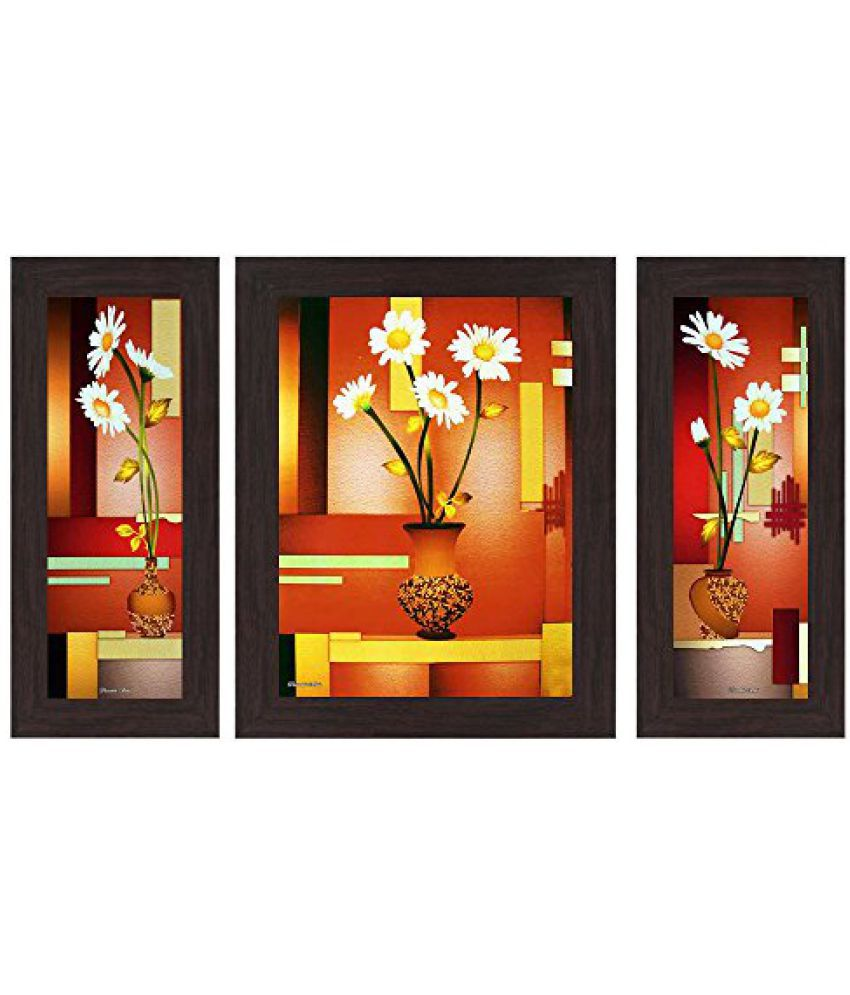 Wens Floral MDF Wall Art (14.5 cm x 29 cm x 1 cm, Set of 3, WSP-4139)