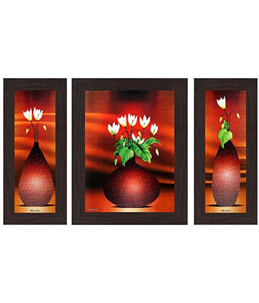 Wens Floral MDF Wall Art (14.5 cm x 29 cm x 1 cm, Set of 3, WSP-4125)