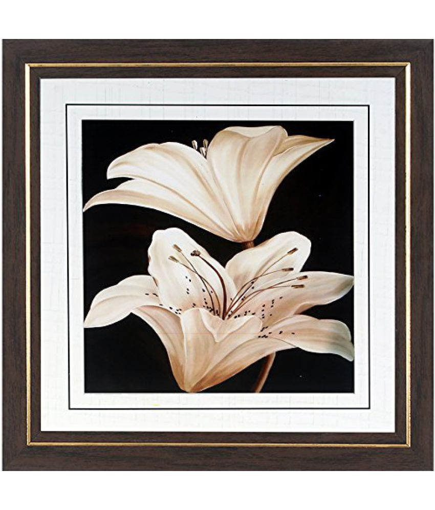 Wens MDF White Lily Wall Painting - 14 x 14 Inch, Multicolour