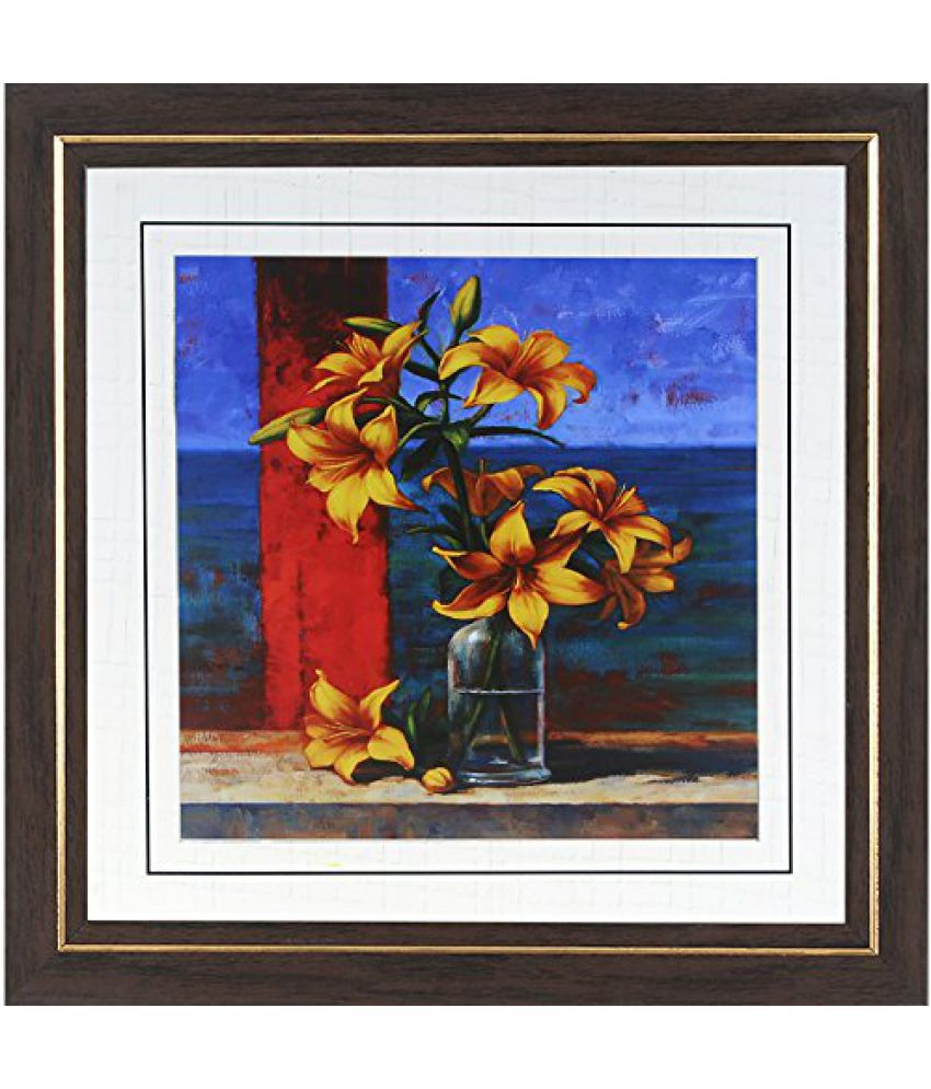 Wens MDF Yellow Flower Painting - 14 x 14 Inch, Multicolour