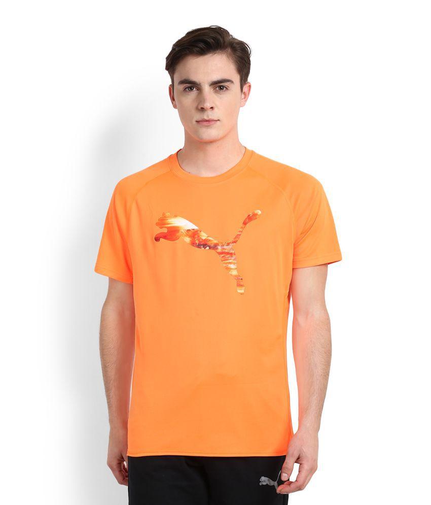 Puma Orange Polyester T Shirt