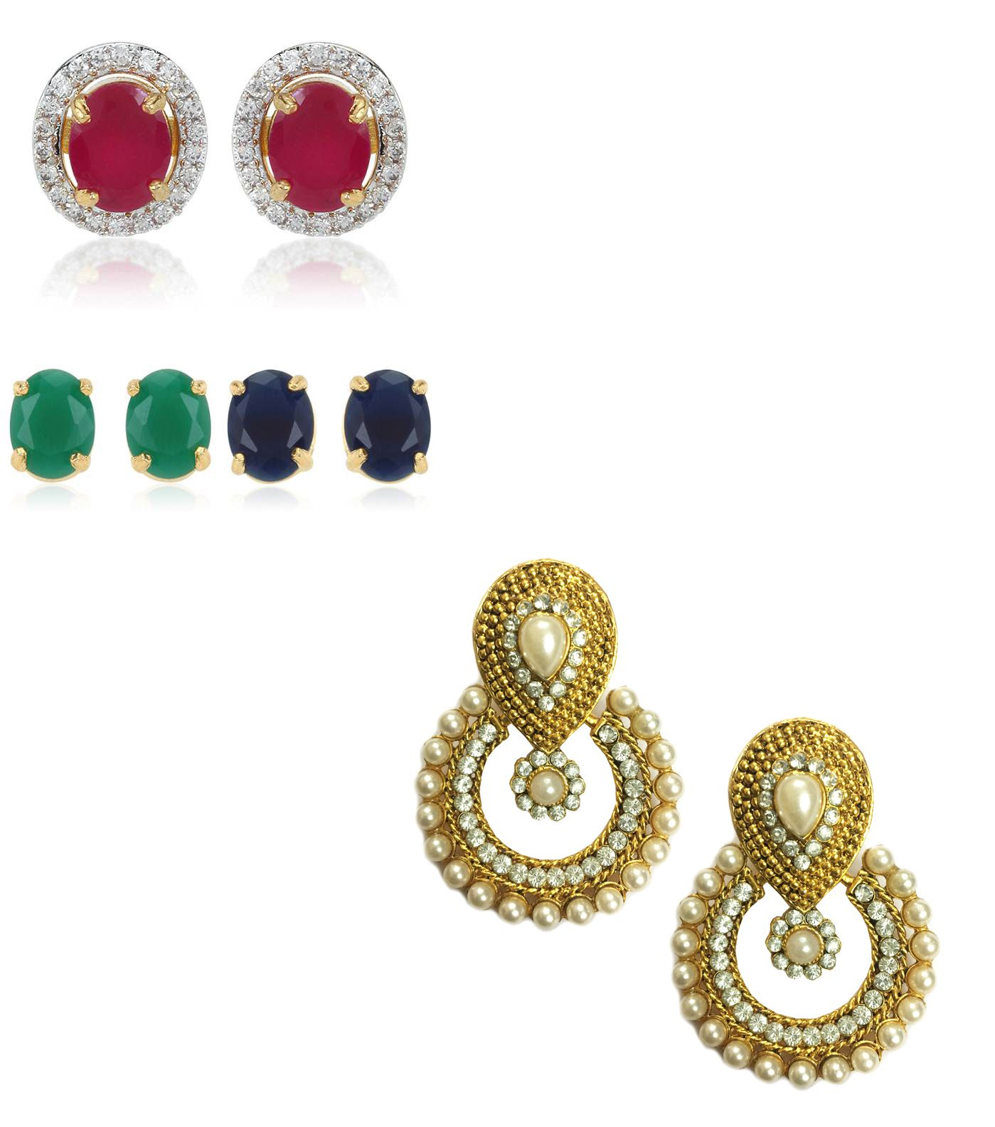 Youbella Multicolour Alloy Stud Earrings Combo Of 6 In 1