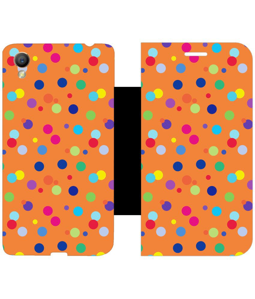 Oppo A37 Flip Cover by Skintice - Orange