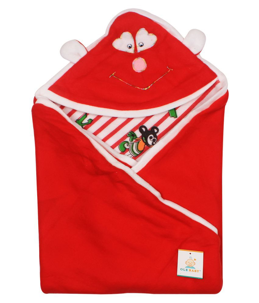 Ole Baby Red Cotton Baby Wrap cum blanket ( 34 cm × 34 cm - 1 pcs)