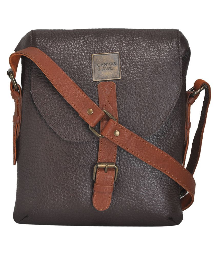 CANVAS & AWL Brown Leather Casual Messenger Bag