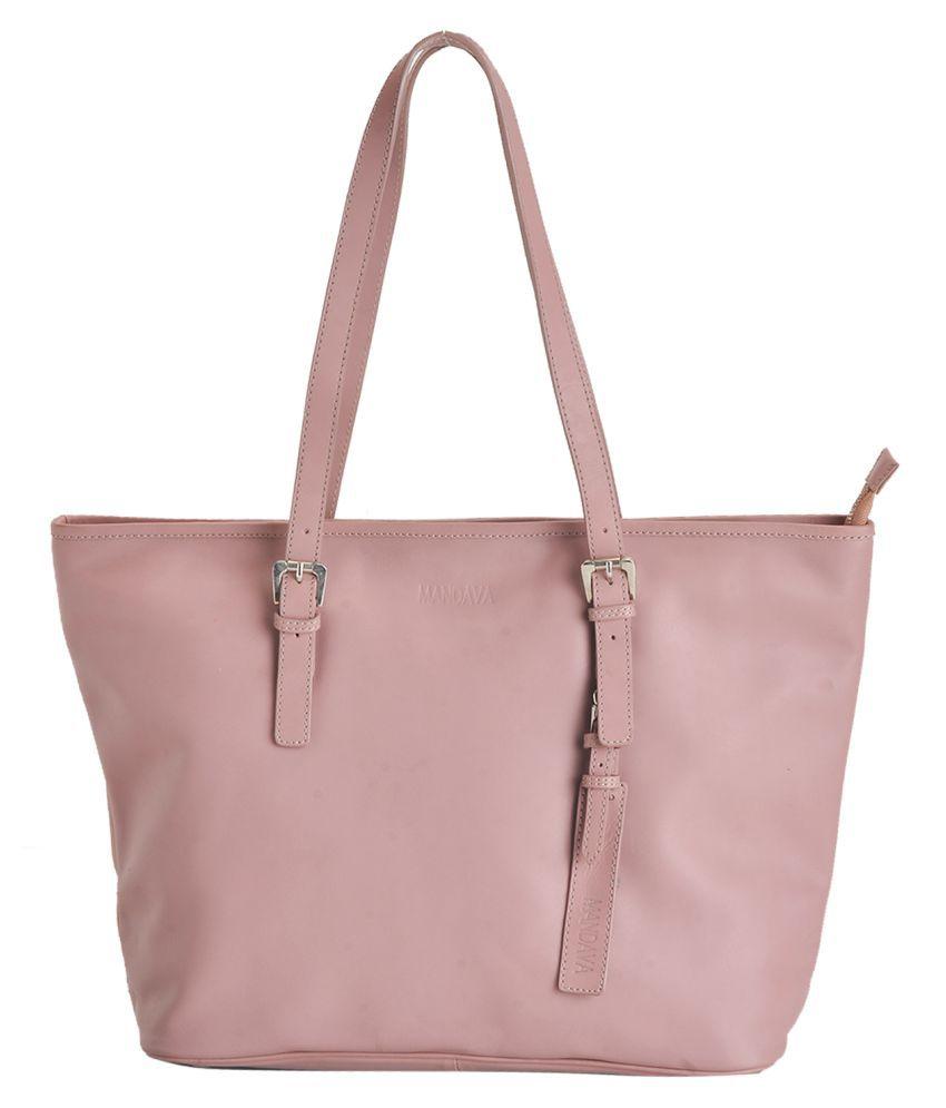 MANDAVA Pink Pure Leather Shoulder Bag
