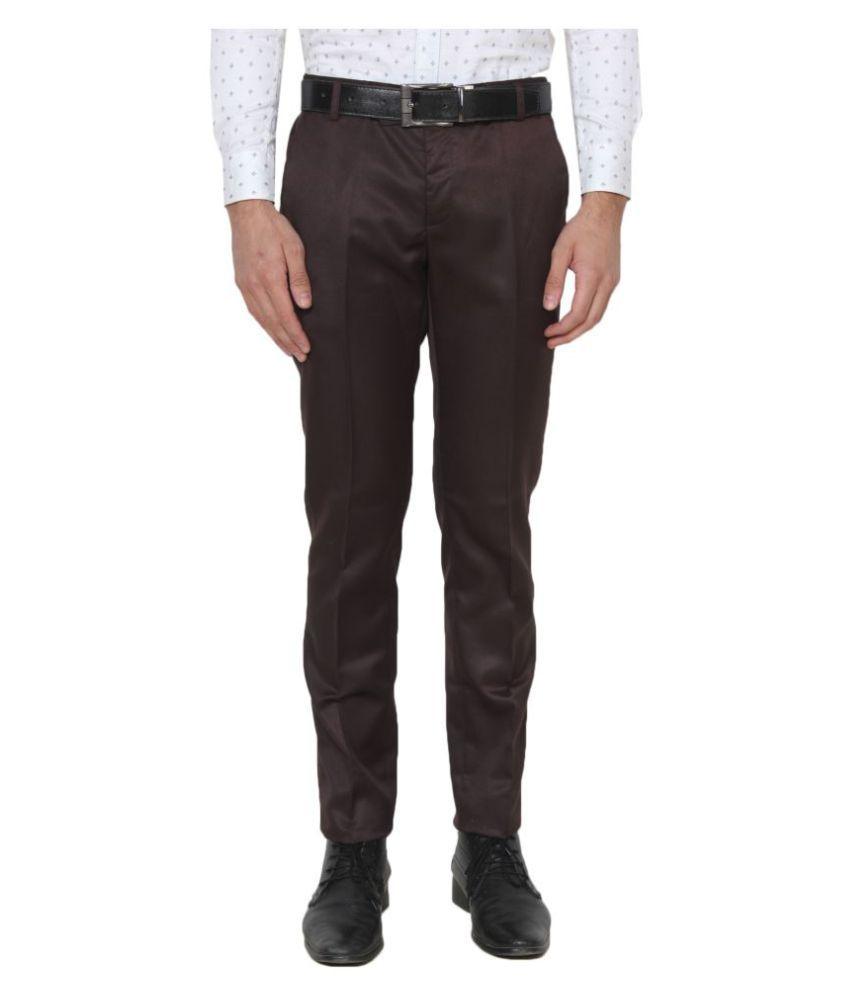 Singham Dark Brown Regular -Fit Flat Trousers