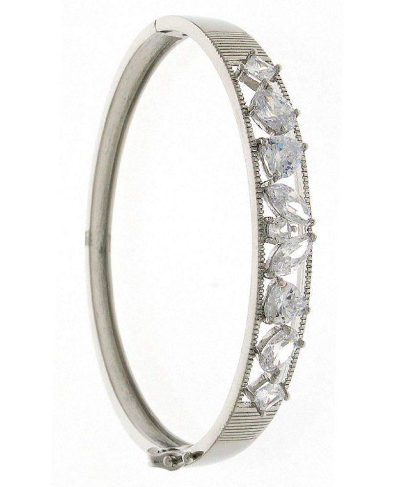 Anuradha Art Silver Colour Classy Fixed Designer American Diamond Korean Metal Adjustable Kada Hand Bracelet For Women/Girls