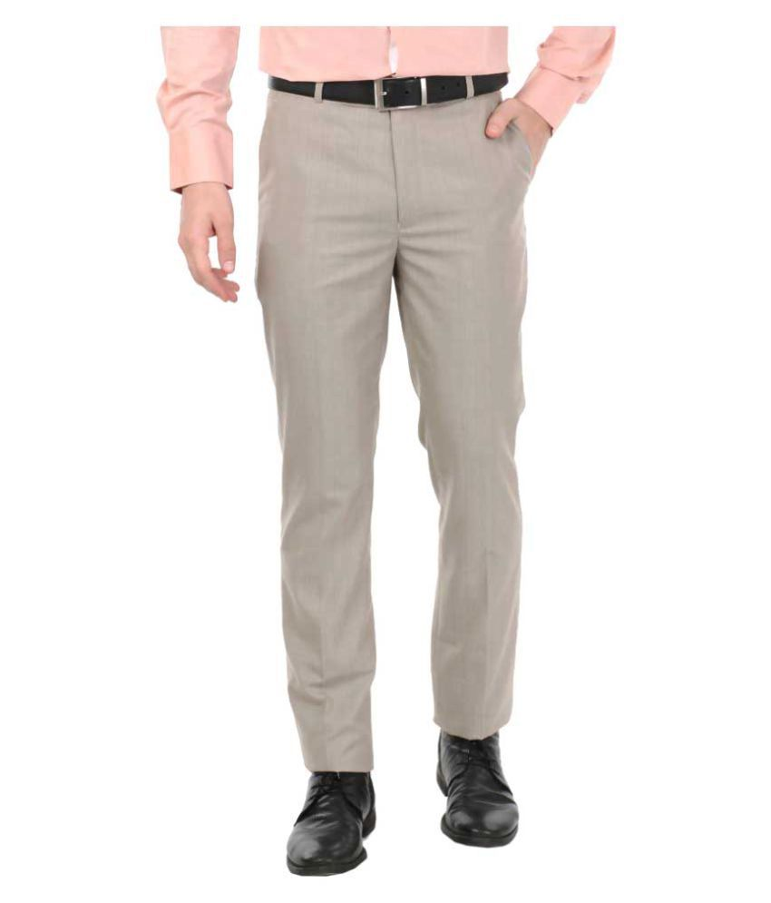 zido Beige Slim -Fit Flat Trousers