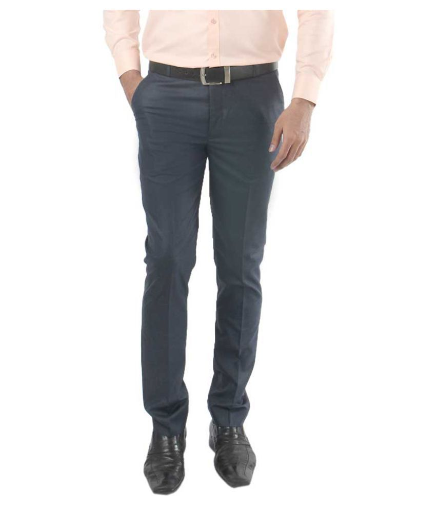 zido Blue Regular -Fit Flat Trousers