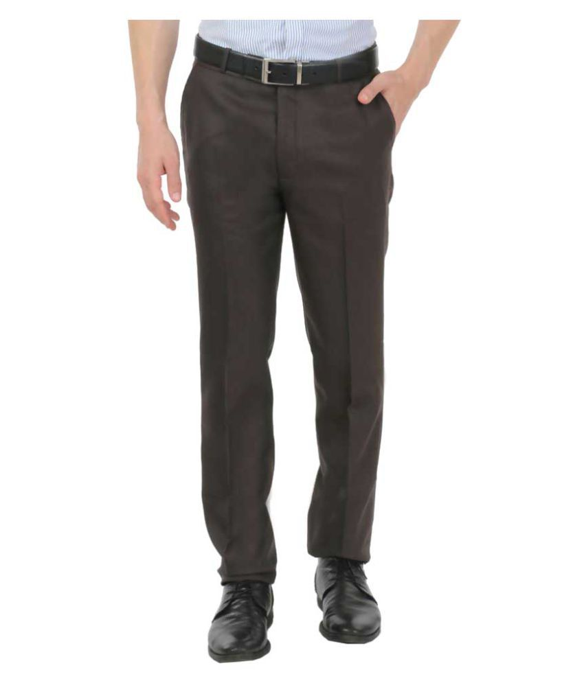 zido Brown Slim -Fit Flat Trousers