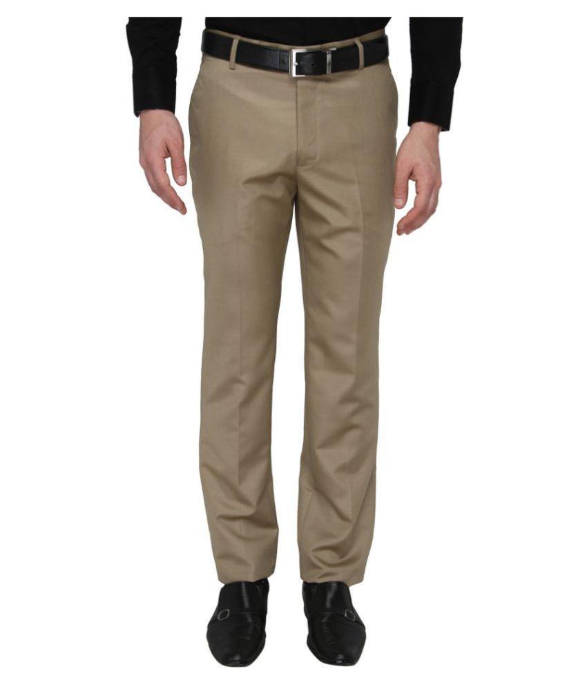 zido Khaki Slim -Fit Flat Trousers