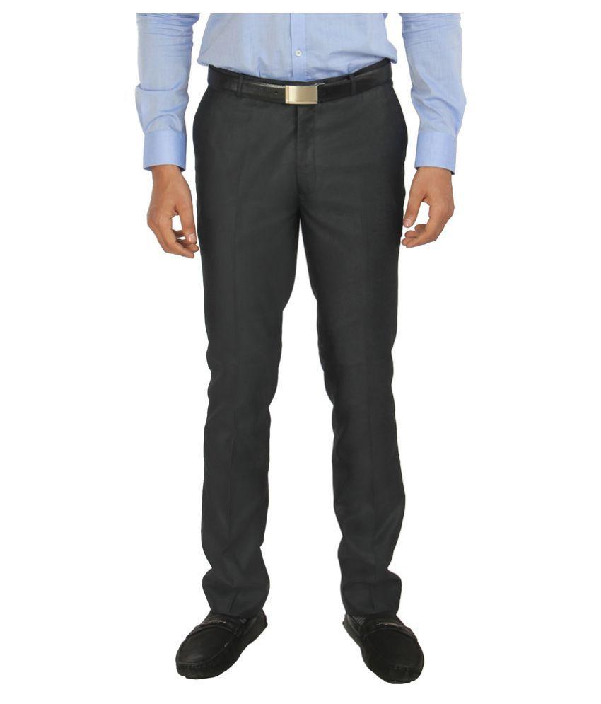 zido Navy Blue Slim -Fit Flat Trousers