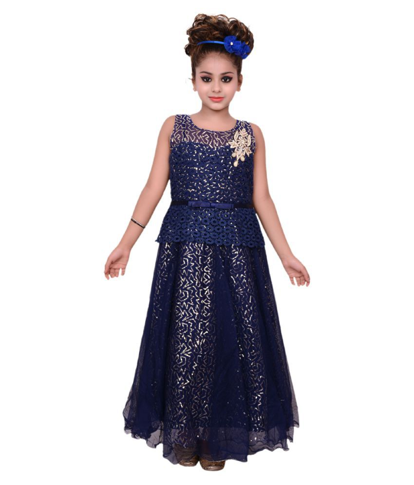 bfd556ab6c gungun creations blue net emrodeiry party wear gown dress - Buy gungun  creations blue net emrodeiry party wear gown dress Online at Low Price -  Snapdeal