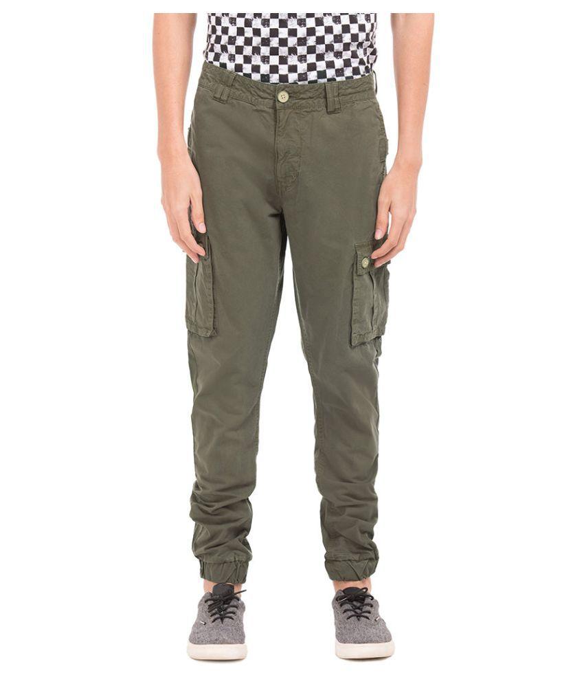 Flying Machine Green Slim -Fit Flat Trousers