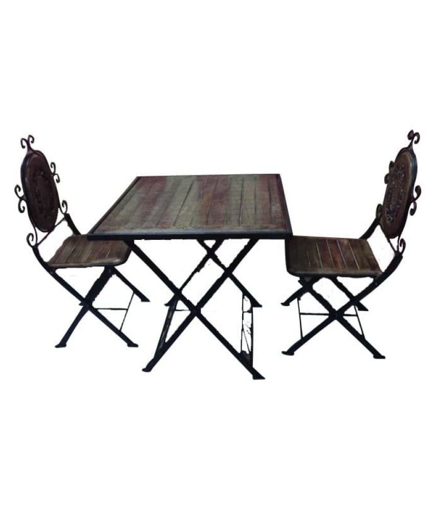 Pleasing Desi Karigar Wooden Iron Dining Table Set Black Table Size 30 X 30 X 30 Inch Chair Size Seat Size 16 X 12 Inch Total Chair Height 41 Inch Andrewgaddart Wooden Chair Designs For Living Room Andrewgaddartcom