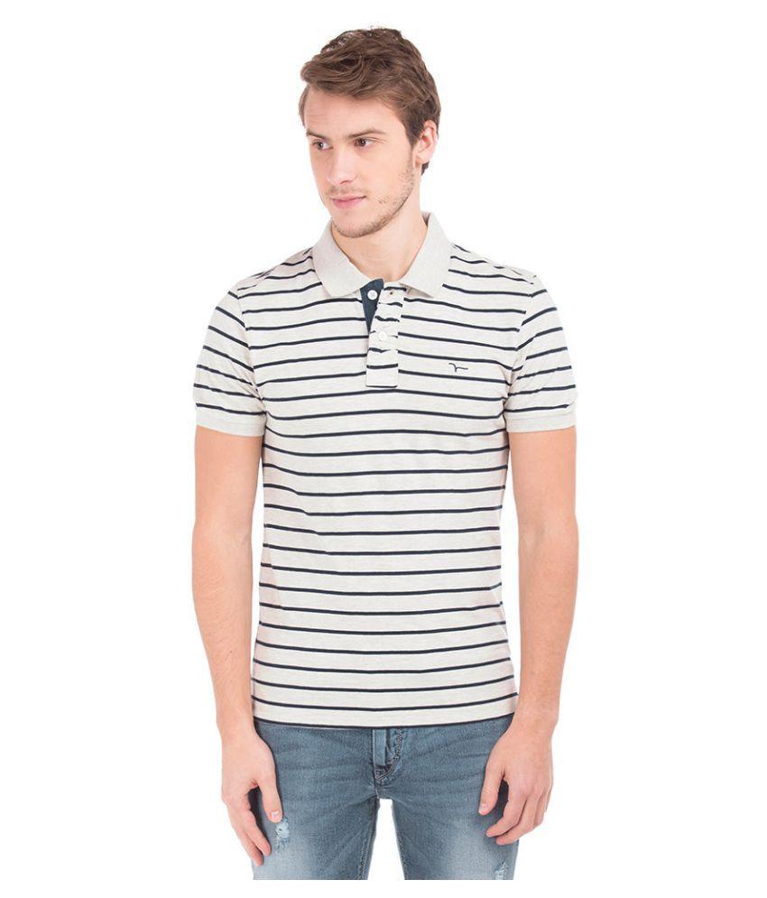 Flying Machine Grey V-Neck T-Shirt