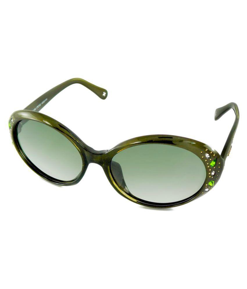 RipleyBrooklyn Green Oval Sunglasses ( Horien Grey Crystalis )