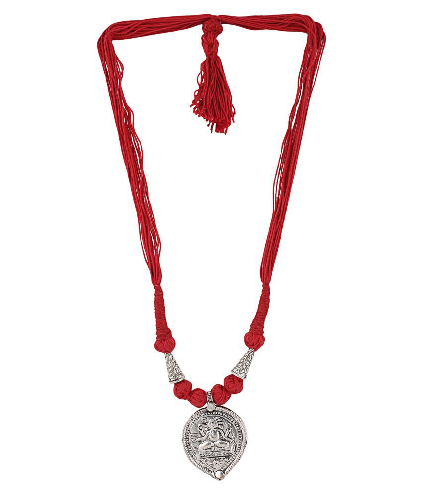Aradhya Designer Oxidized German Silver Necklace with handcrafted pendent of Lord Ganesha for Women and Girls