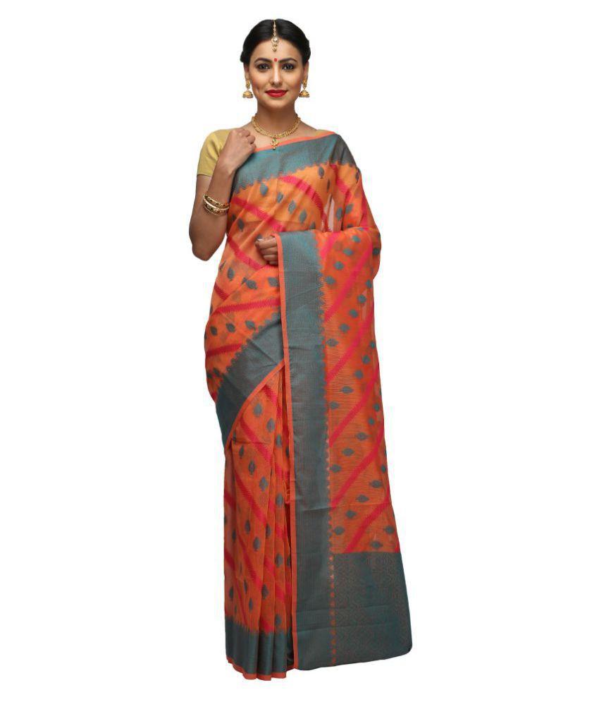 India Sari House Orange Super Net Saree