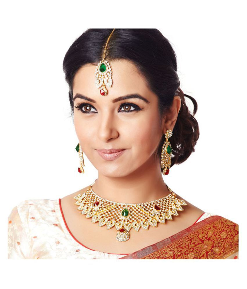 RG Fashions Zinc Gold Plating Stones Studded Multicolour Necklace Set with Maang Tikka For Women