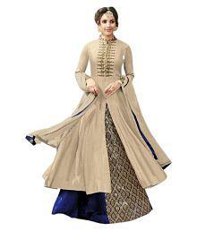 Aika Beige Cotton Anarkali Gown Semi-Stitched Suit