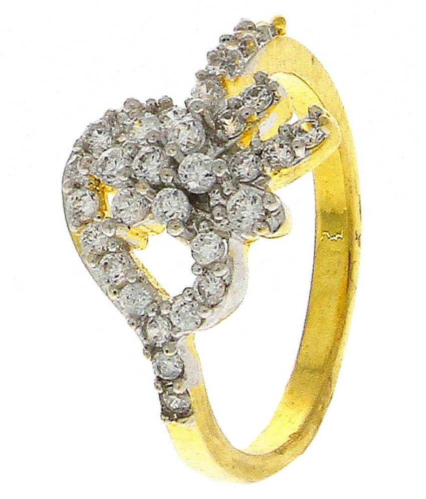 Anuradha Art Golden Finish Flower Styled Designer Wonderful American Diamonds Classy Finger Ring For Women/Girls