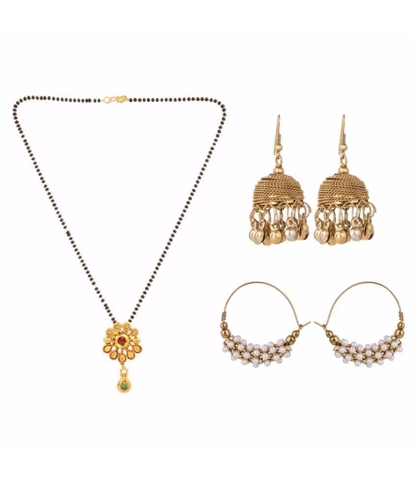 Archi Collection Jewellery Combo Designer Gold Plated Ethnic Mangalsutra & Oxidised Pearl Dangler Earrings for Women