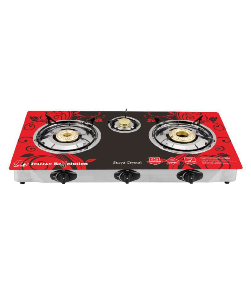 surya crystal scr201r 3 burner auto gas stove design colour may vary rh snapdeal com