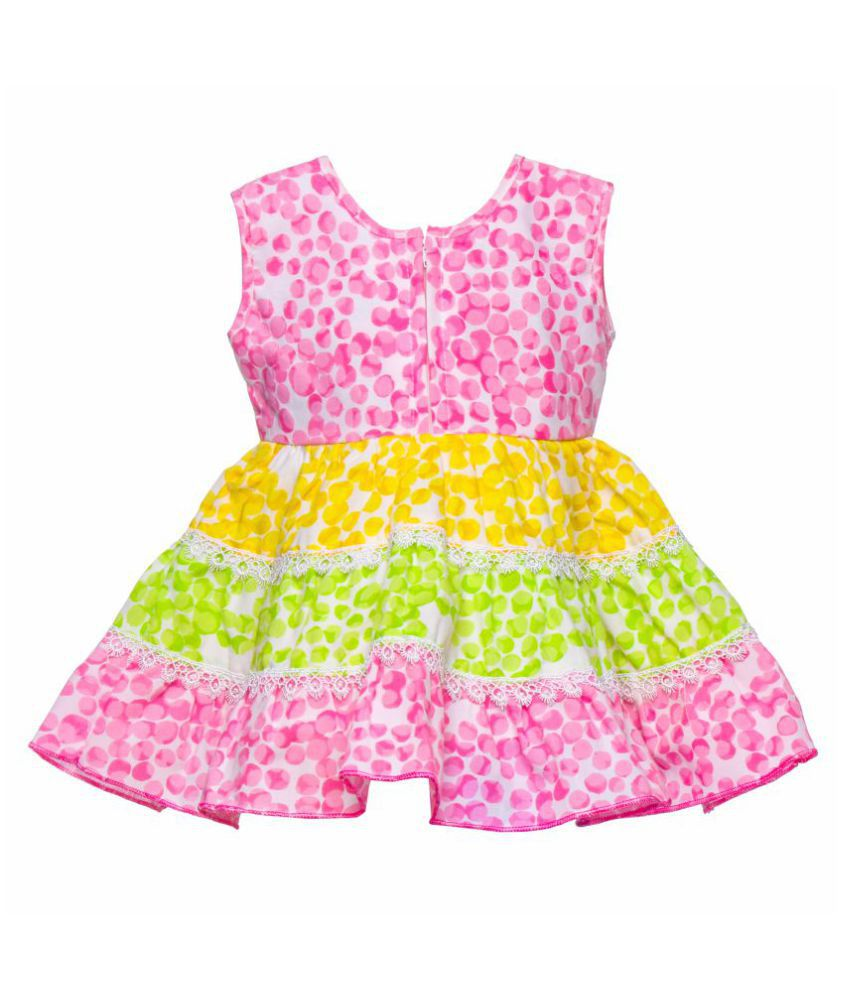5fc2b6704712 Littly Baby Girl s Party Wear Little Petal Print Cotton Frock Dress With  Panty (Pink