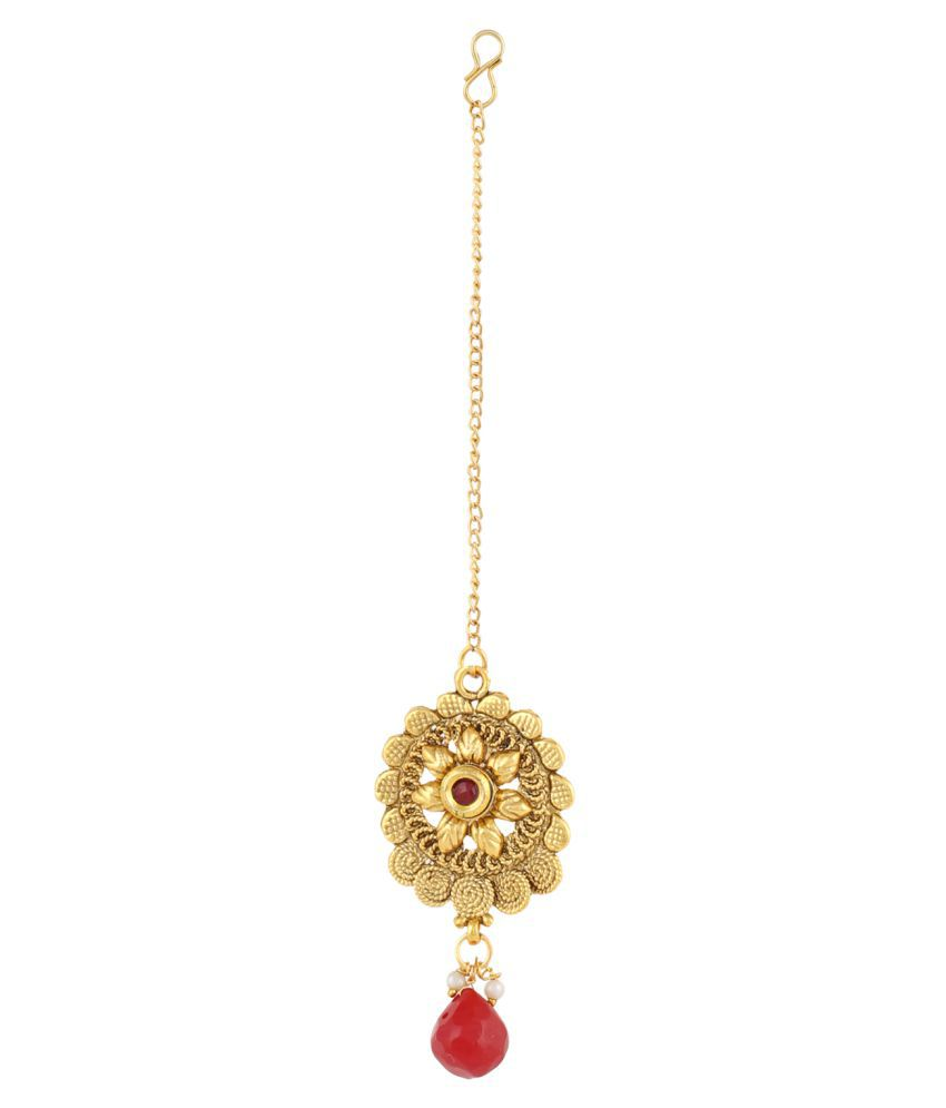 Aradhya Traditional Designer Gold Plated Kundan Necklace Set with ...