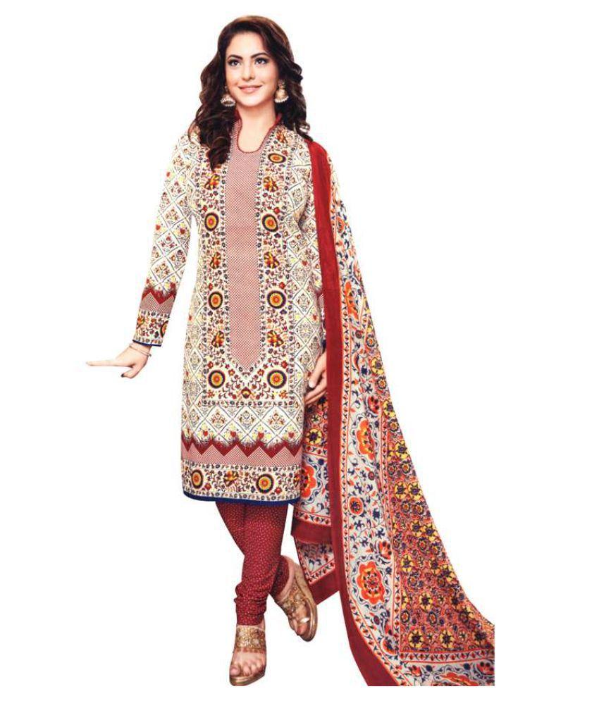 Kumaran Silks Off White Cotton Dress Material