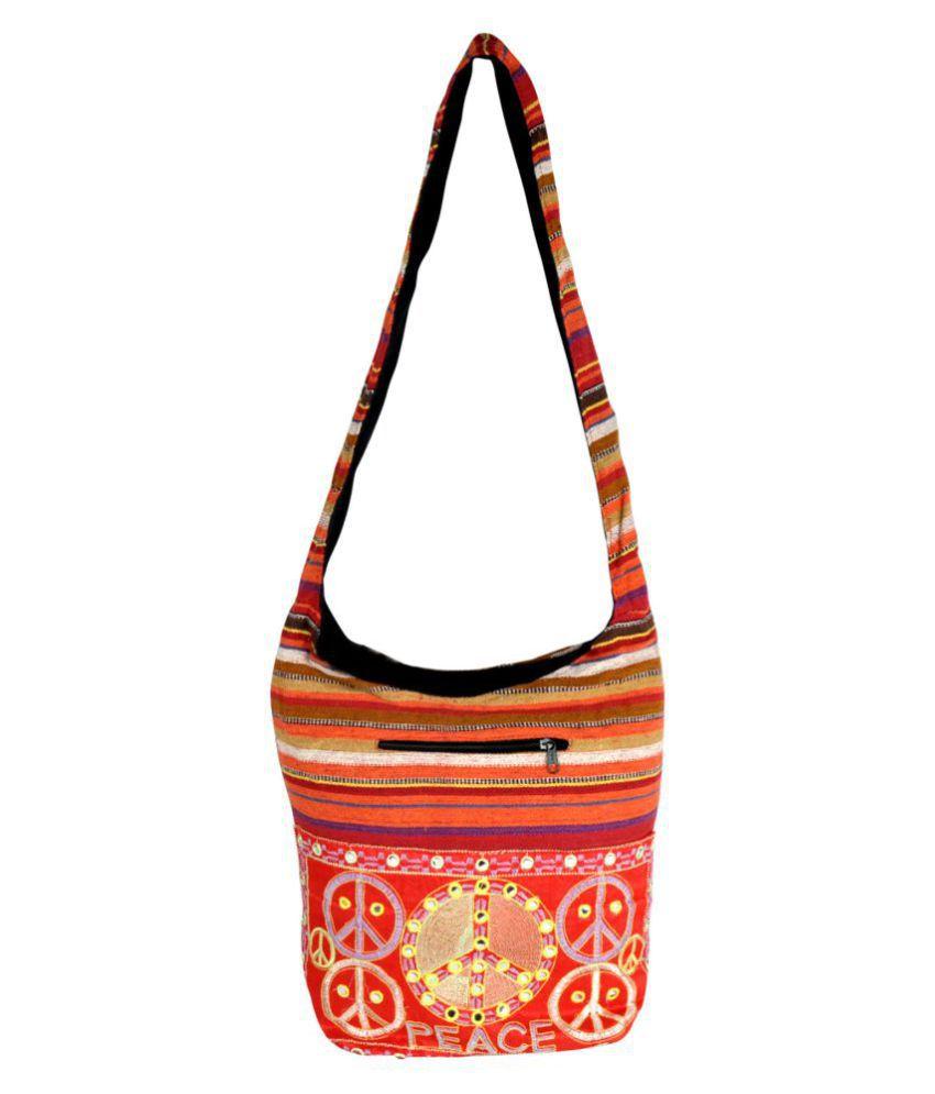 Lal Haveli Red Cotton Sling Bag